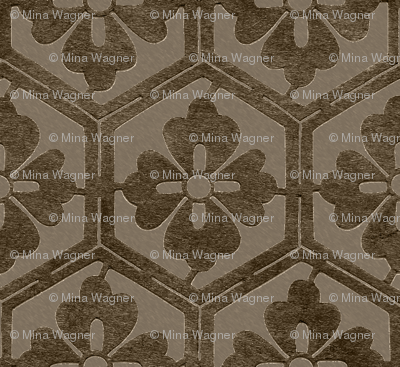 Japanese Hexagonal Stencil fabric - antique brown