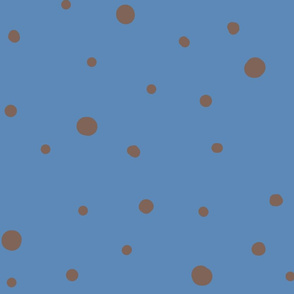 dotty dots - grey on medium blue