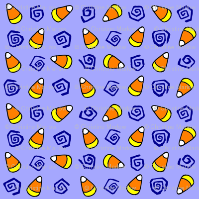 CandyCorn & Swirlies with blue background