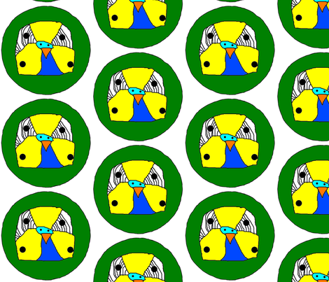 Budgie Face fabric by heartfullofbirds on Spoonflower - custom fabric