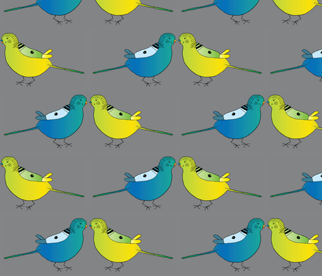 Budgie Pair fabric by heartfullofbirds on Spoonflower - custom fabric