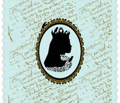 Bluebird Queen Cameo on Tiffany Blue French Script