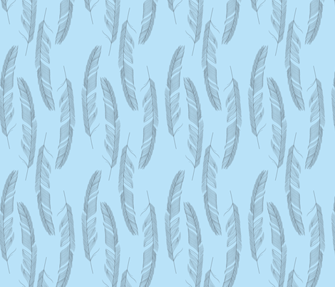 Light as a feather blue fabric by danielle_b on Spoonflower - custom fabric