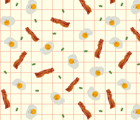 Bacon and Eggs fabric by jabiroo on Spoonflower - custom fabric