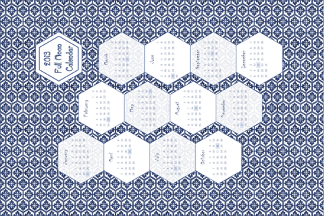 2013 Full Moon Linen Teatowel Calendar  18x27 inches fabric by mina on Spoonflower - custom fabric