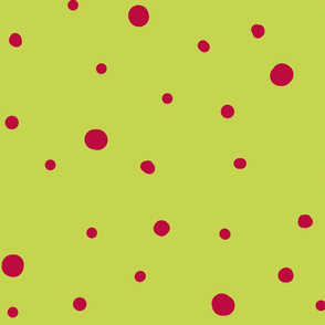 dotty dots - cerise on soft green