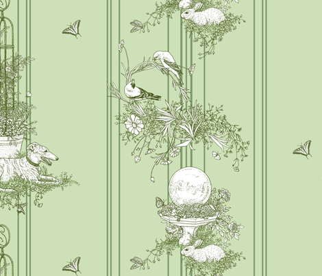 Green Stripe Garden Toile Large ©2011 by Jane Walker fabric by artbyjanewalker on Spoonflower - custom fabric