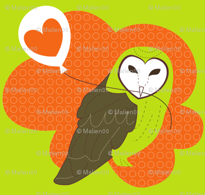 Barn Owl with Love Balloon