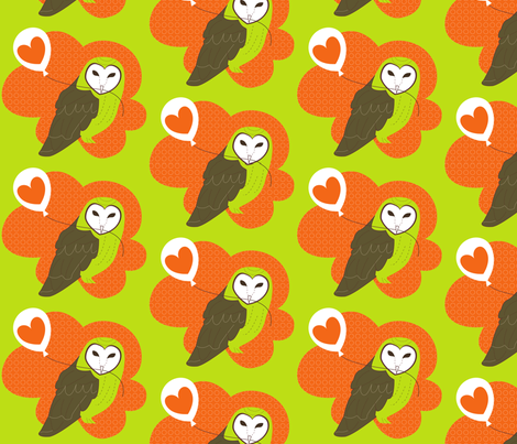 Barn Owl with Love Balloon fabric by malien00 on Spoonflower - custom fabric