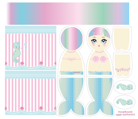 Mermaid Bunka Doll fabric by pinkmacaroon on Spoonflower - custom fabric