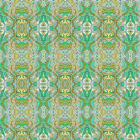Green and Yellow Teeny Tiny Curligigs fabric by edsel2084 on Spoonflower - custom fabric