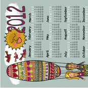 Up Up Happy Love 2012 Tea Towel Calendar