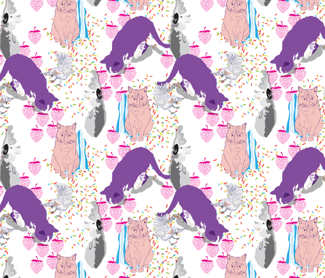 Neon Cats & Feathered Friends fabric by marlene_pixley on Spoonflower - custom fabric
