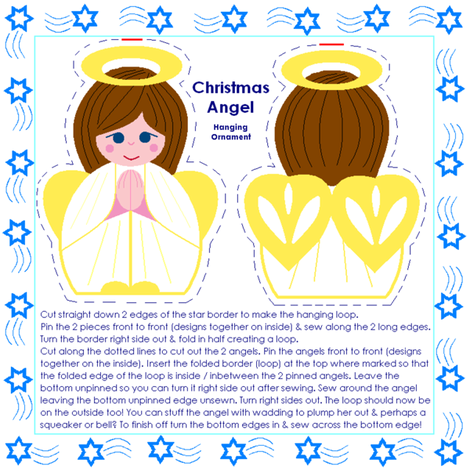 Angel hanging ornament fabric by squeakyangel on Spoonflower - custom fabric