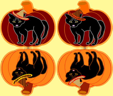 PumpkinBlackCat-Test2 fabric by grannynan on Spoonflower - custom fabric