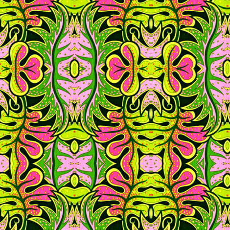 Pink and Green Tropical fabric by whimzwhirled on Spoonflower - custom fabric