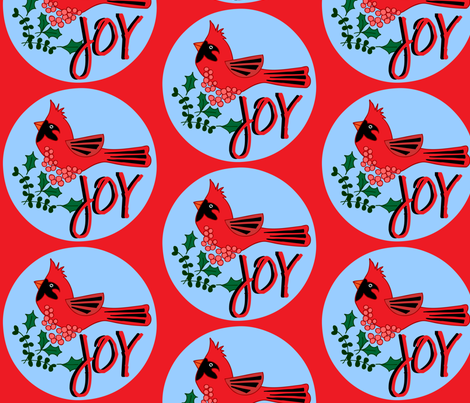 Cardinal Celebration - Joy fabric by owlandchickadee on Spoonflower - custom fabric