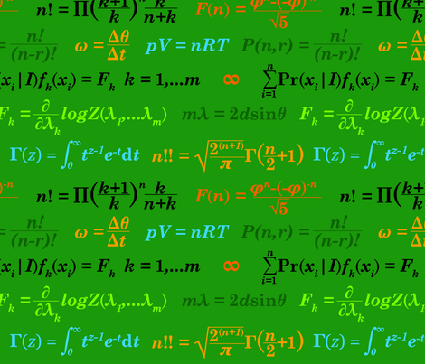 Equations and Equations - Green fabric by primenumbergirl on Spoonflower - custom fabric