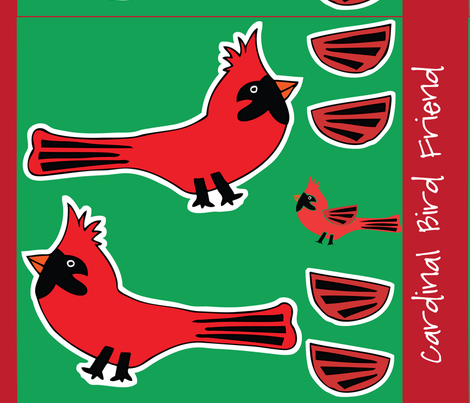 Cardinal Celebration - Bird Friend Plushie fabric by owlandchickadee on Spoonflower - custom fabric