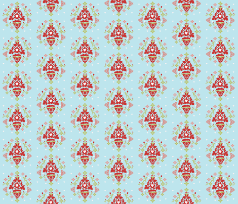 Tulips and Hearts fabric by karenharveycox on Spoonflower - custom fabric