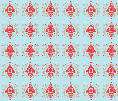 Tulips, Bows and Hearts fabric by karenharveycox on Spoonflower - custom fabric