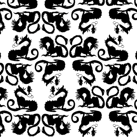 Black dragons fabric by eclectic_house on Spoonflower - custom fabric