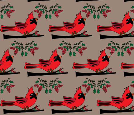 Cardinal Celebration - Linen Background fabric by owlandchickadee on Spoonflower - custom fabric