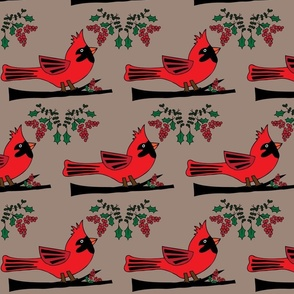 Cardinal Celebration - Linen Background