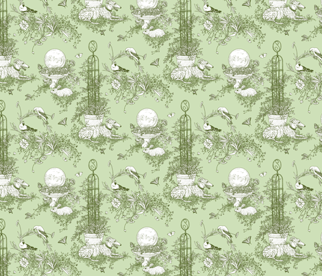 Green Garden Toile Small ©2011 by Jane Walker fabric by artbyjanewalker on Spoonflower - custom fabric