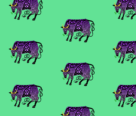 Purple Celtic Cow Small fabric by ingridthecrafty on Spoonflower - custom fabric