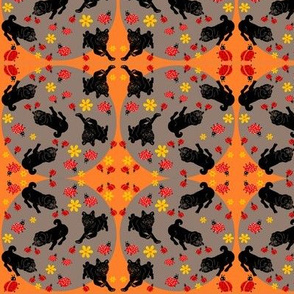 pugs and ladybugs wall paper and fabric:)
