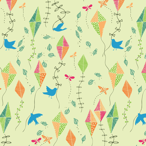 fly away blue bird fabric by bethan_janine on Spoonflower - custom fabric