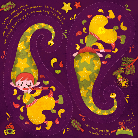 hanging ornament elf  fabric by irrimiri on Spoonflower - custom fabric