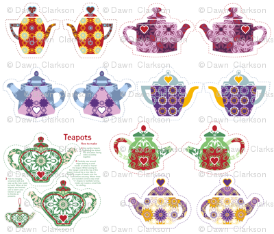 7 Miniature Teapots. Please zoom to see all 7 of them.