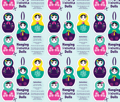 Hanging Babushka dolls fabric by danielle_b on Spoonflower - custom fabric