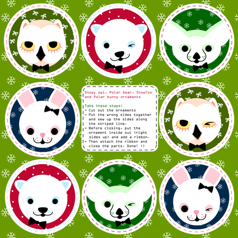 hanging-ornaments snow animals fabric by miss_honeybird on Spoonflower - custom fabric