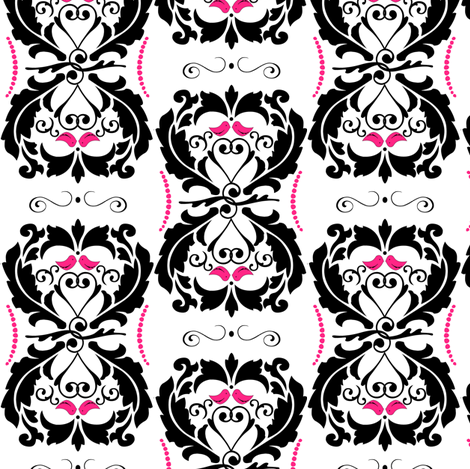 Lovebirds Heart Damask fabric by artsycanvasgirl on Spoonflower - custom fabric