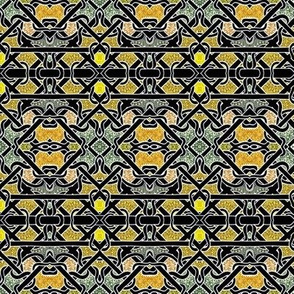 Diagonal weaving in gold and black