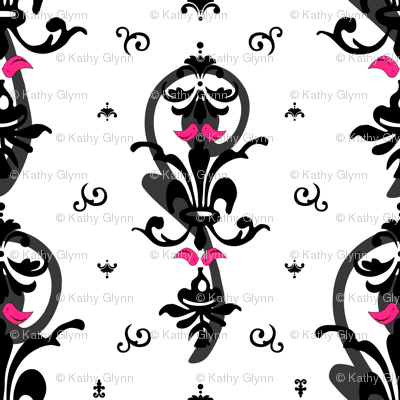 Lovebirds in Modern Damask