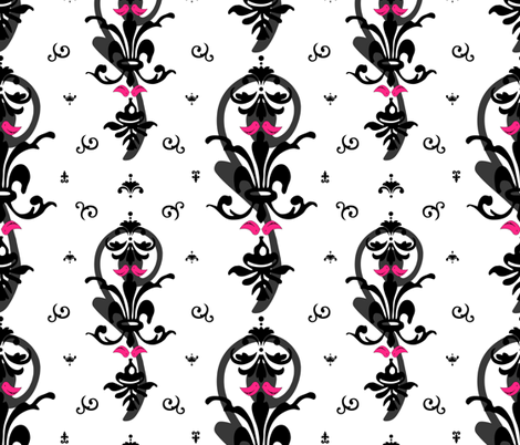 Lovebirds in Modern Damask fabric by artsycanvasgirl on Spoonflower - custom fabric