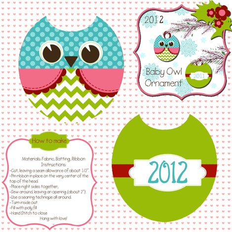 Baby Owl Ornament fabric by natitys on Spoonflower - custom fabric