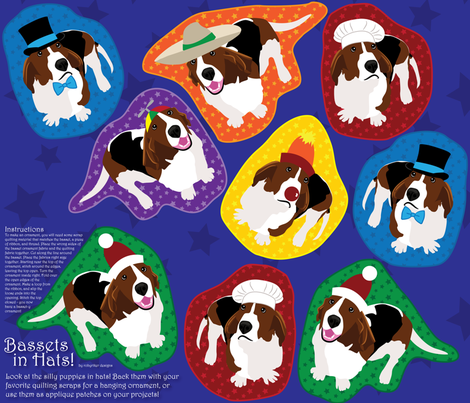 Bassets in Hats (See FQ View for More Bassets!) fabric by robyriker on Spoonflower - custom fabric
