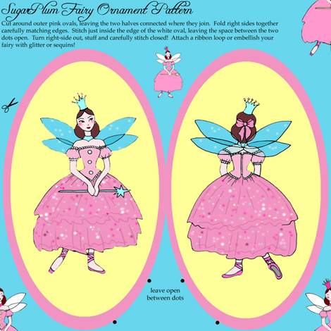 Sugarplum Fairy Christmas Ornament fabric by beesocks on Spoonflower - custom fabric