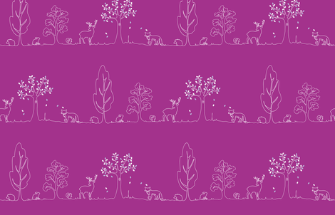 Woodland doodle fabric by coggon_(roz_robinson) on Spoonflower - custom fabric