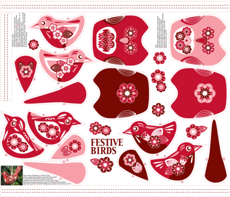 Festive Birds Hanging Ornament. (3 birds and 2 owls on a FQ) fabric by cjldesigns on Spoonflower - custom fabric