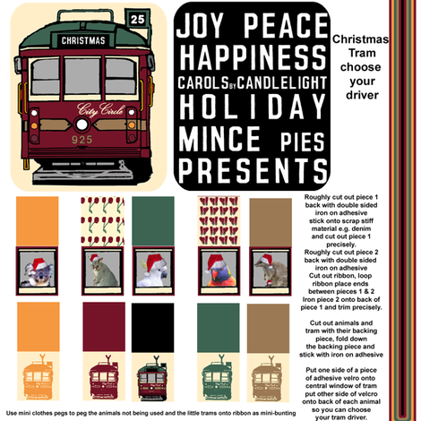 Christmas Tram Ornament - Choose your Driver fabric by upcyclepatch on Spoonflower - custom fabric
