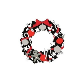 Christmas Wreath Black, white & red