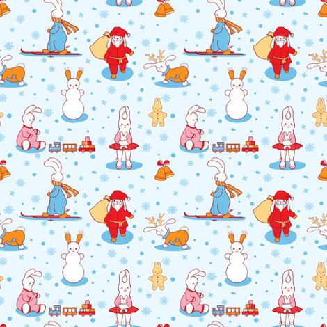 Bunny Christmas fabric by yaskii on Spoonflower - custom fabric