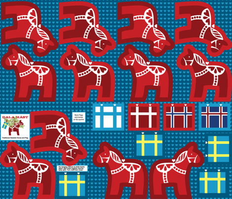 Swedish Dala Horse fabric by supercoop on Spoonflower - custom fabric