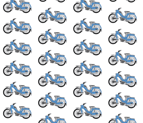 blue moped scooter Tunturi-ch fabric by vinkeli on Spoonflower - custom fabric
